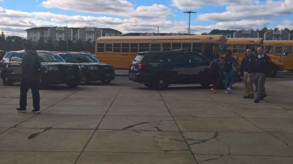 Police cars at Sweet Home High School
