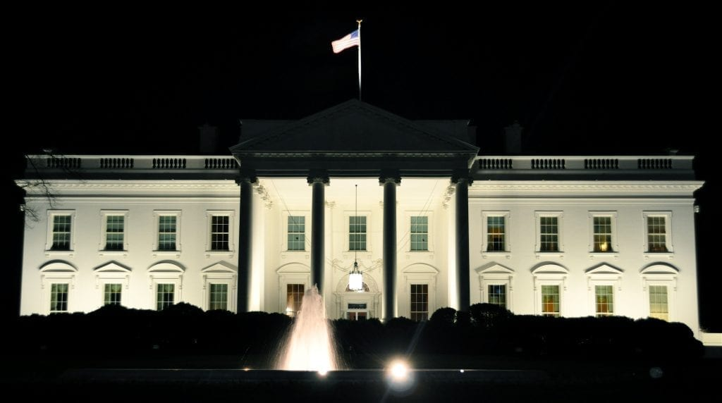 A photo of the north side of the White House at night by Kevin Burkett